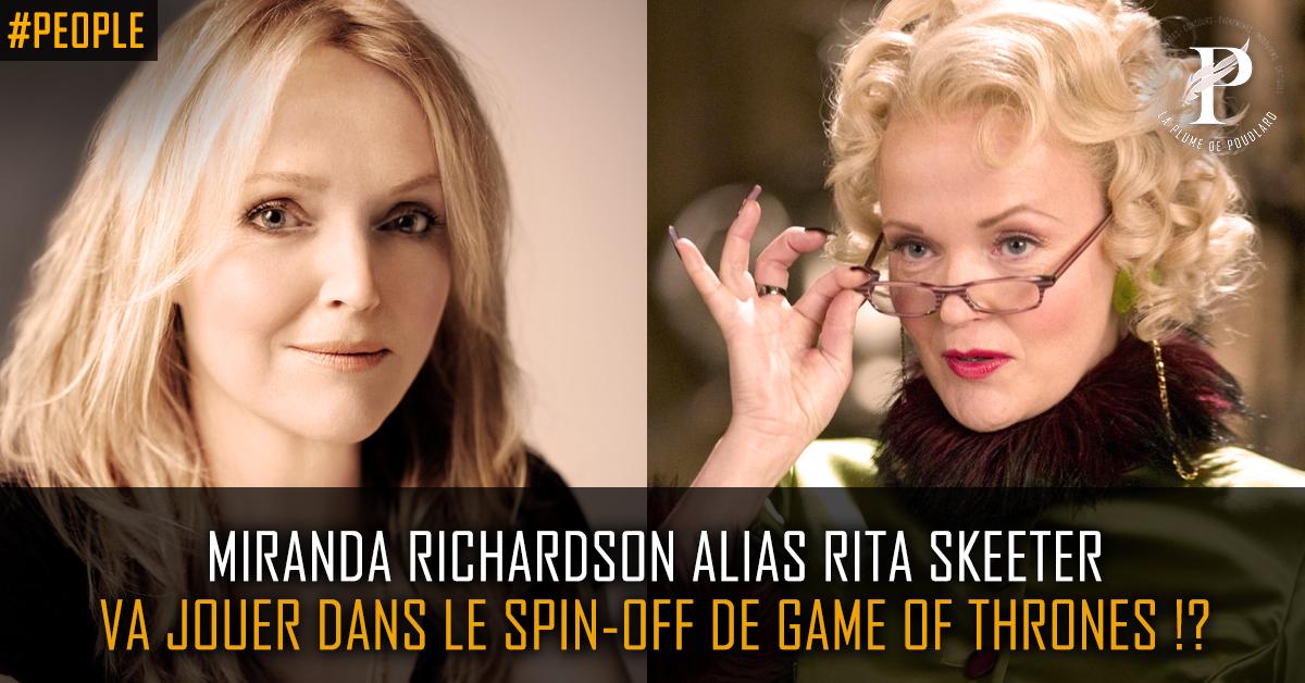 Miranda Richardson alias Rita Skeeter, rejoint le cast du