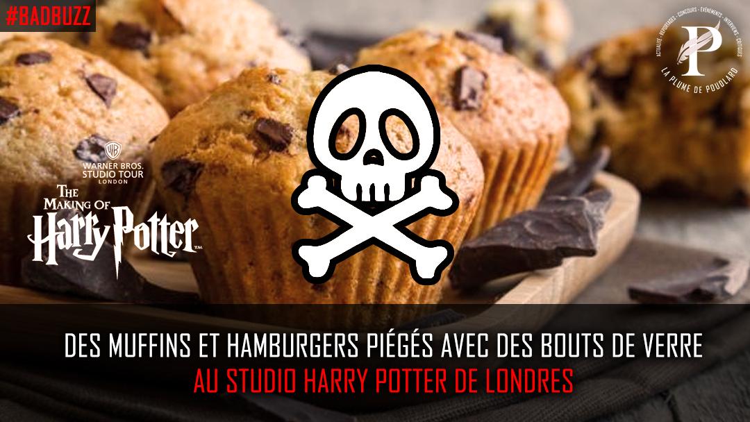 Des muffins et des hamburgers piégés avec des bouts de verre au studio Harry Potter de Londres.