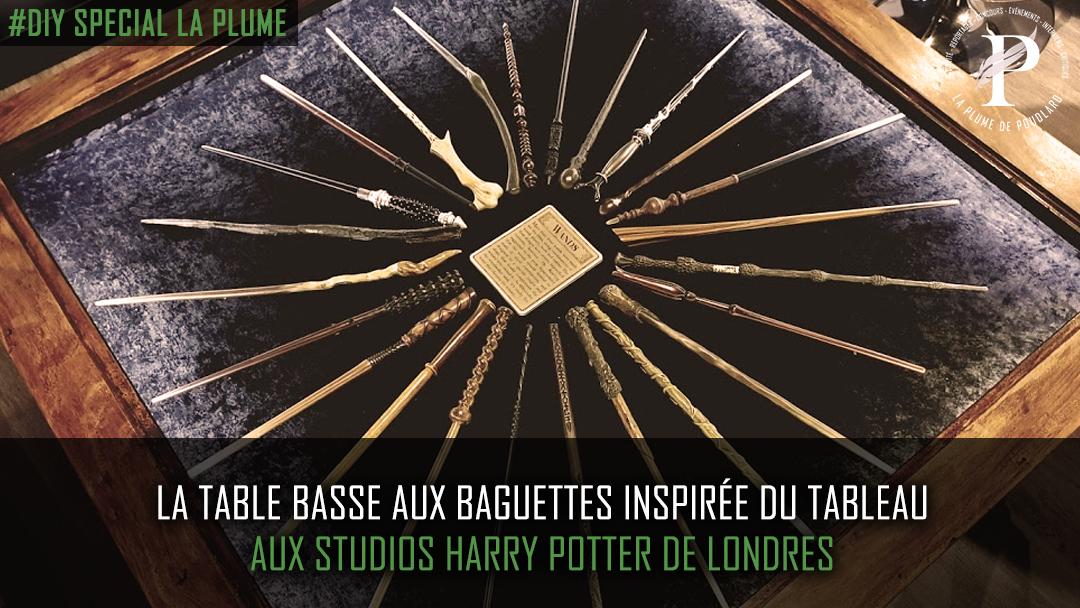 La table aux baguettes inspirée de la vitrine tableau des studios Harry Potter de Londres