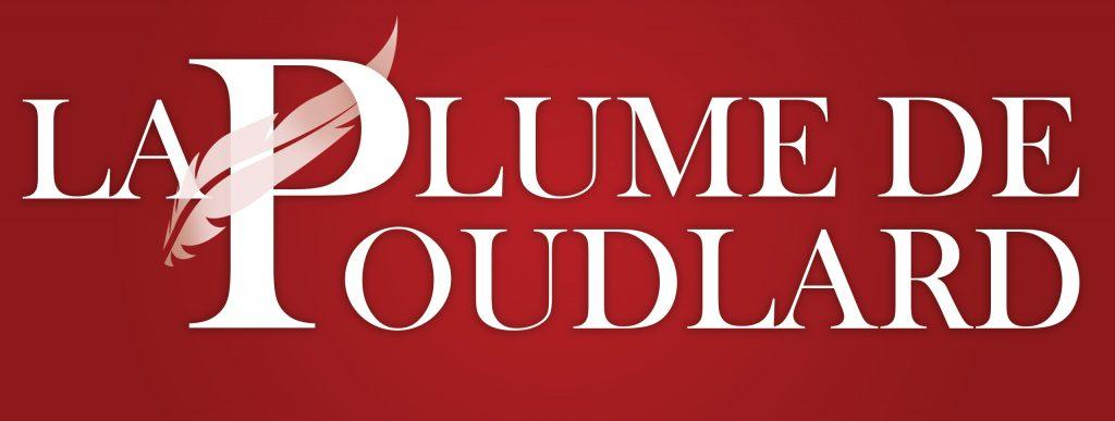 La Plume de Poudlard Logo Large blanc sur fond rouge